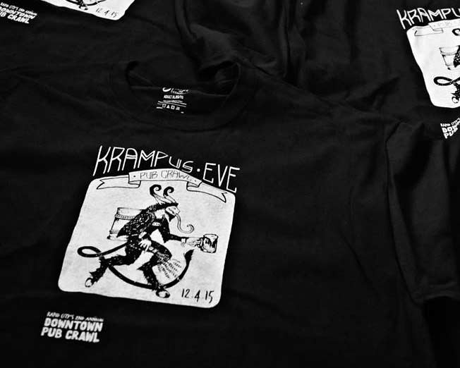 Hand-printed Krampus Crawl T-shirts, limited edition